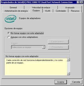 Pestaña Equipos Intel
