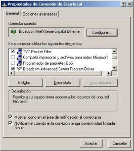 Propiedades Adaptadores Protocolo Broadcom
